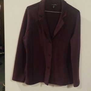 EILEEN FISHER burgundy WOOL jacket size M